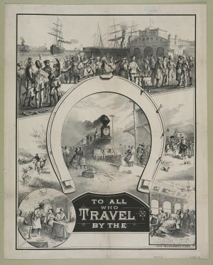 Print showcasing immigrations arriving from many nations using a variety of transportation methods (c.1882).