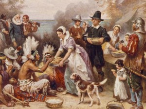 1932 Painting of Pilgrims and Indians at First Thanksgiving