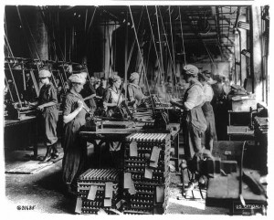 Women working in ordnance plants during WWI. Women took on traditionally male work roles during the war.
