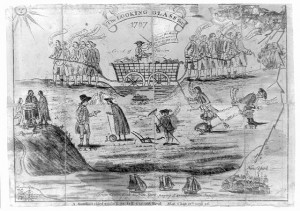 """A satire touching on some of the major issues in Connecticut politics on the eve of the ratification of the U.S. Constitution. The two rival factions shown are the """"Federals,"""" who represented the trading interests and were for taxes on imports, and the """"Antifederals,"""" who represented agrarian interests and were more receptive to paper money issues."""