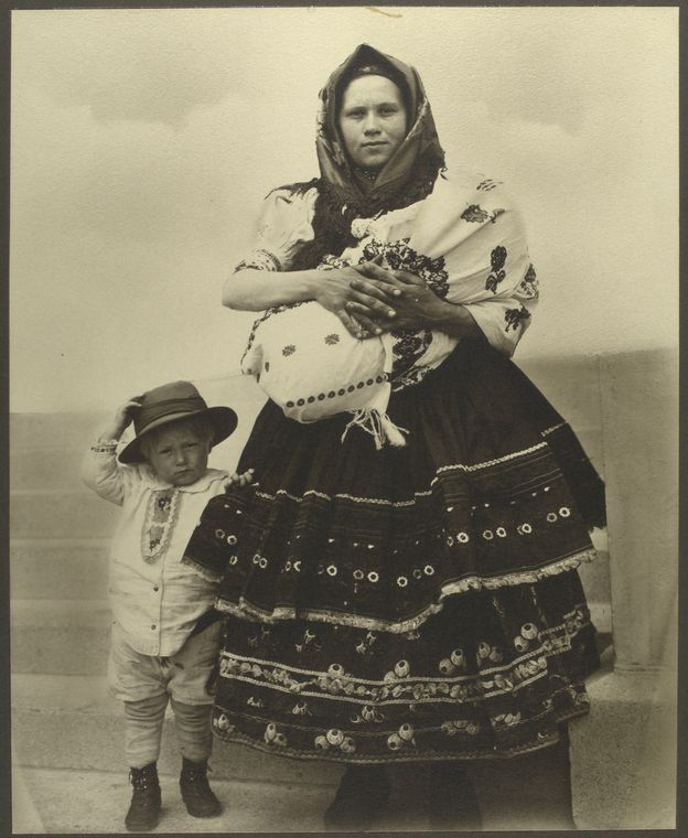 Slovak woman and children.