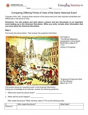 Worksheet with image of Boston Massacre