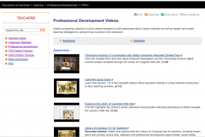 Screenshot of Professional Development videos on Library of Congress website