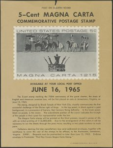 Magna Carta 1965 Postage Stamp commemorates 750 anniversary