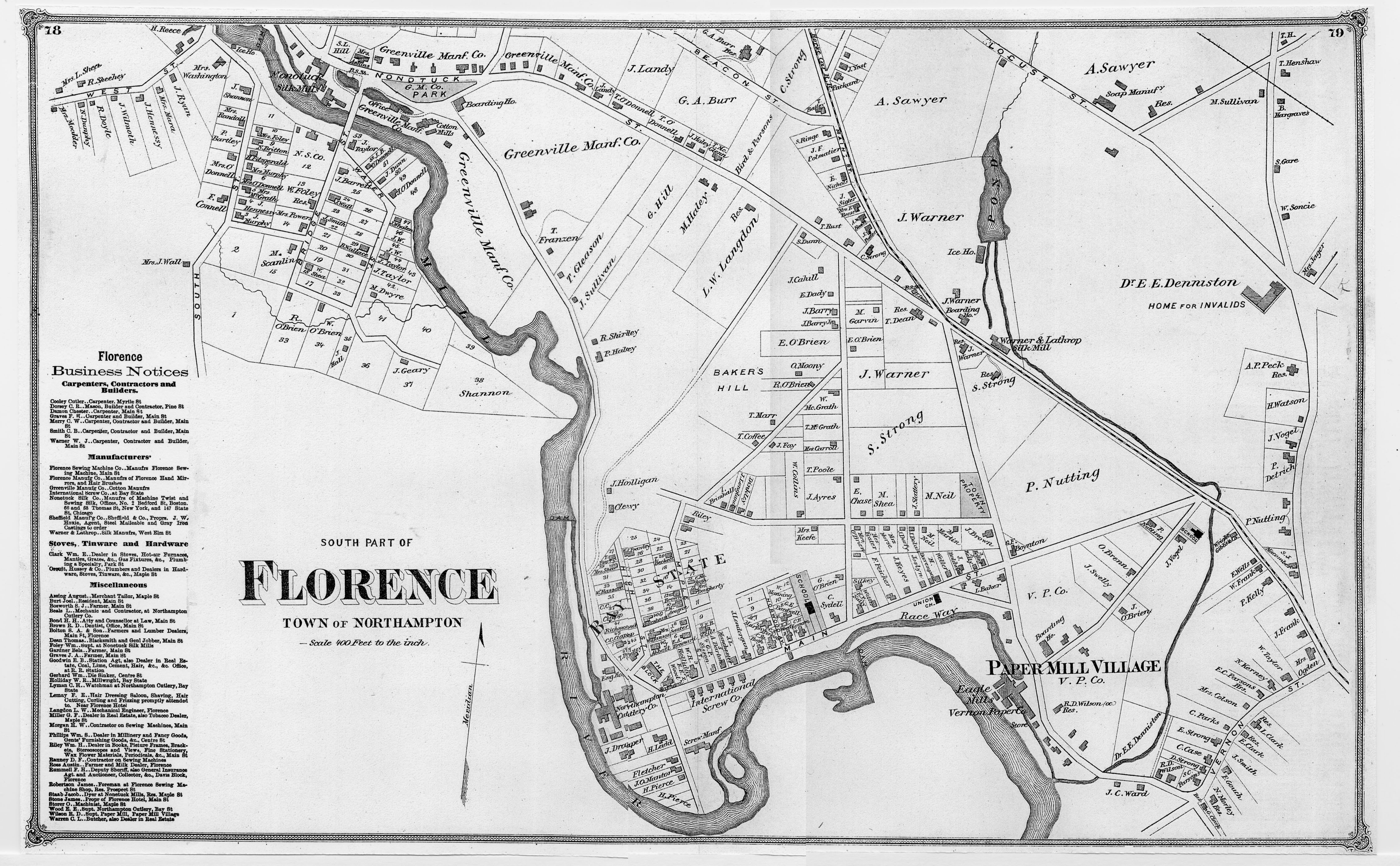map of Florence in 1873