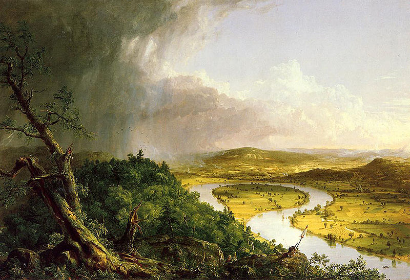 "a painting of ""The Oxbow"" by Thomas Cole"