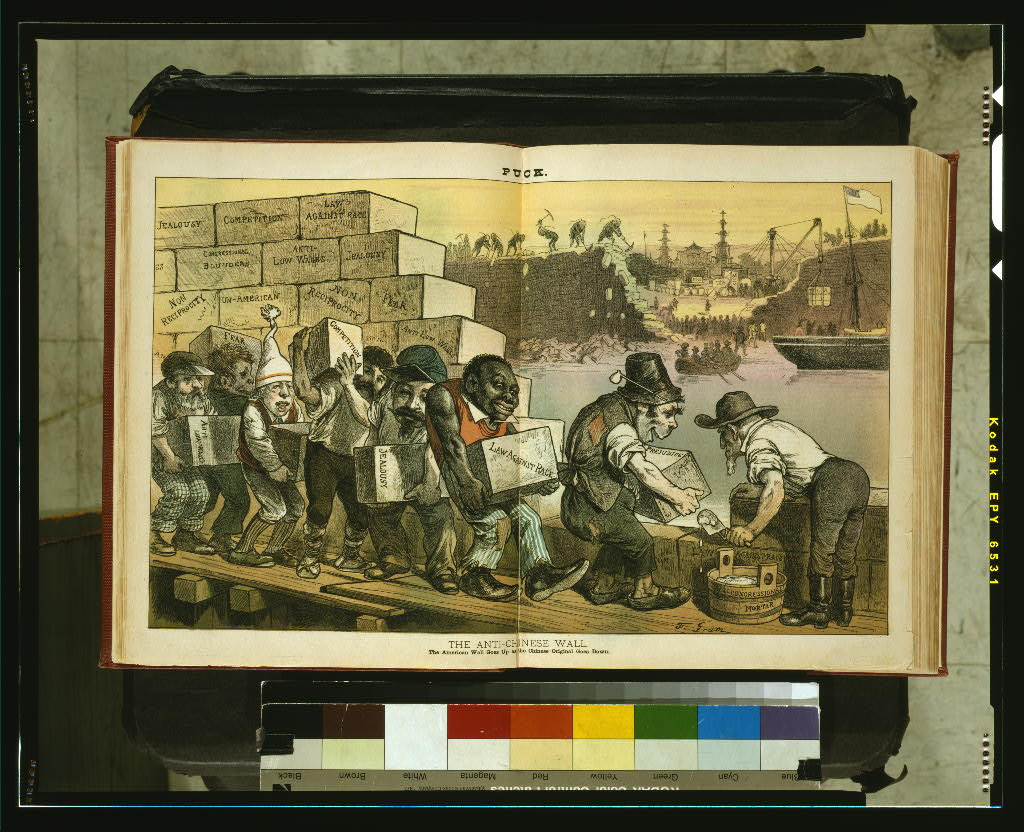 A color cartoon showing laborers, among whom are Irishmen, an African American, a Civil War veteran, Italian, Frenchman, and a Jew (all caracatures), building a wall against the Chinese. Labels on wall indicate that Congressional mortar connects blocks of prejudice, non-reciprocity, law against race, fear, jealousy, anti-low-wages, competition, etc. Across the sea, a ship flying the American flag enters China, as the Chinese knock down their own wall and permit trade of such goods as rice, tea, and silk.