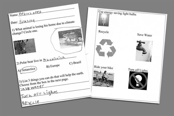 Two sheets of paper, a worksheet and a page with five pictures paired with a word or phrase