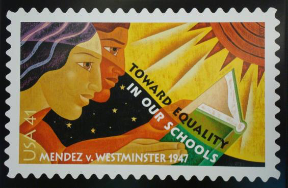 Postage stamp shows two students reading with text Mendez v. Westminster 1947.