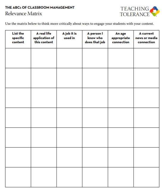 Screen cap of Relevance Matrix worksheet for teachers