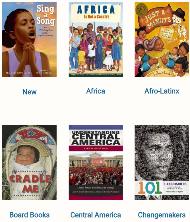 Screenshot of social justice book covers