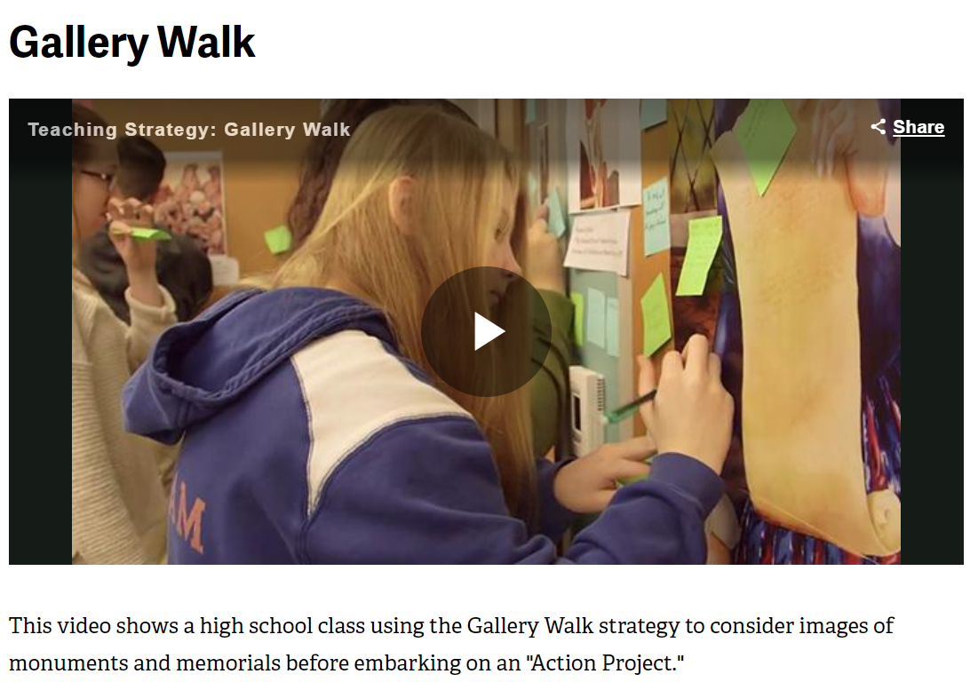 Screenshot of Gallery Walk video from Facing History