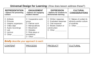 Chart with check boxes for features of a lesson