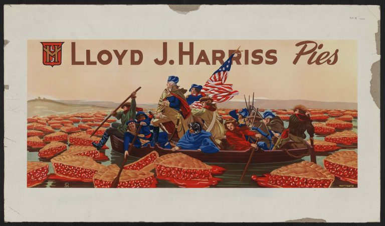 Poster shows George Washington crossing a river of cherry pies. It is a spoof on Emanuel Leutze's painting of Washington crossing the Delaware