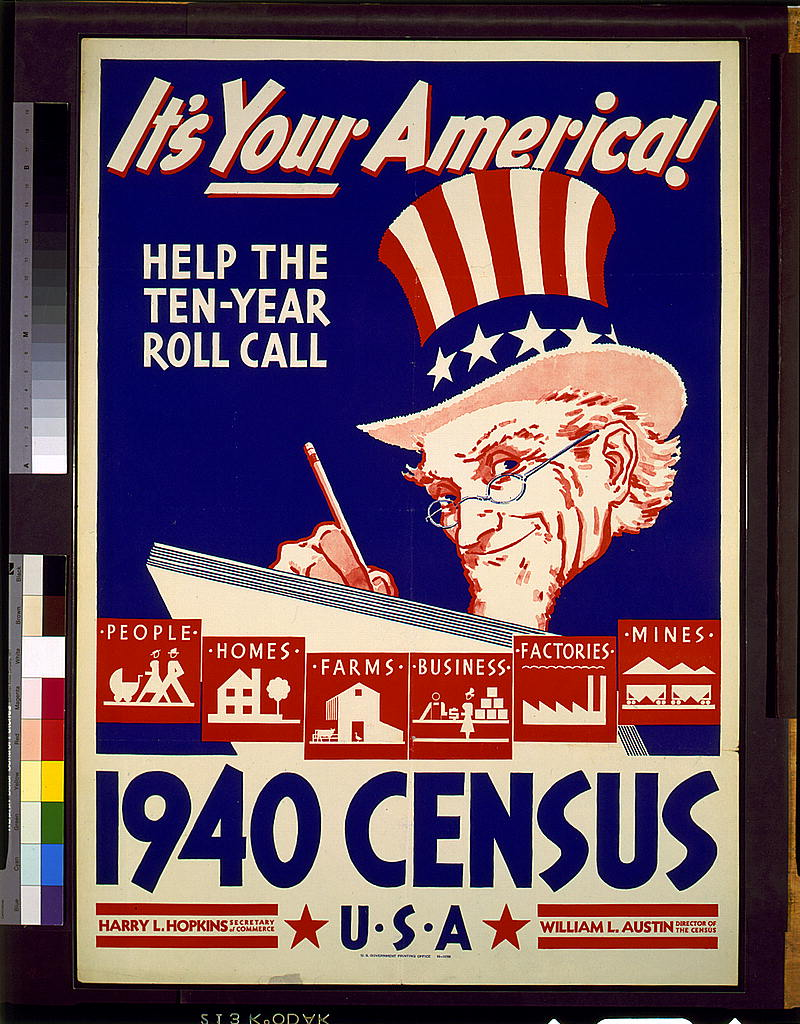 1940 Census Poster in red, white, and blue with Uncle Sam in stars and stripes top hat writing in a big book