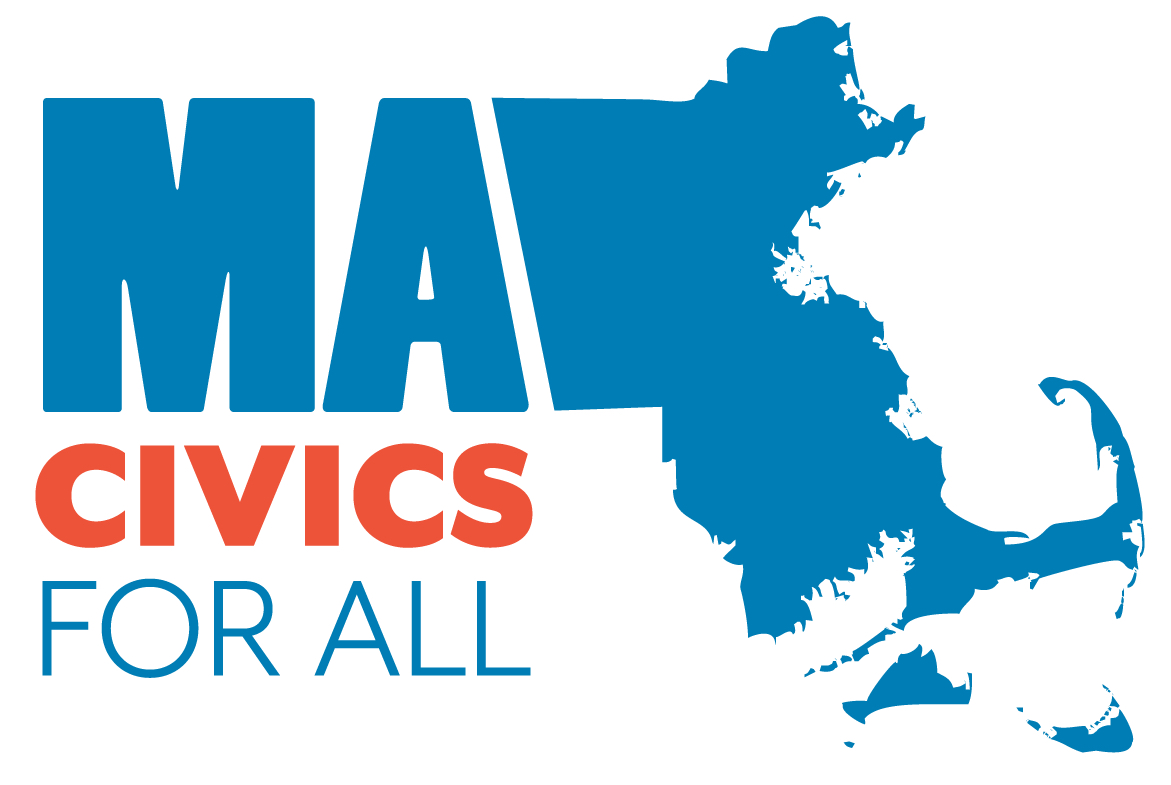 Logo of MA Civics for All with state map