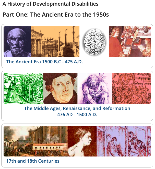 "Cover art for a timeline, showing rows of colored illustrations with captions ""Ancient Era, ""Middle Ages, Renaissance, & Reformation,"" etc."