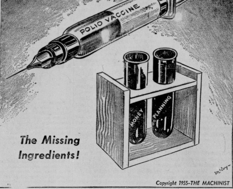 "syringe labeled ""POLIO VACCINE"" is shown above two test tubes, one labeled ""MONEY"" and one labeled ""PLANNING"", with the prominent words, ""The Missing Ingredients!"""