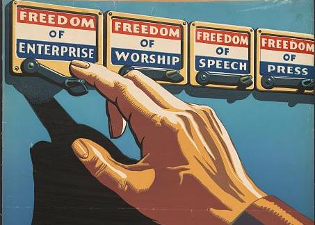 A hand reaches to voting lever, with Freedoms listed.