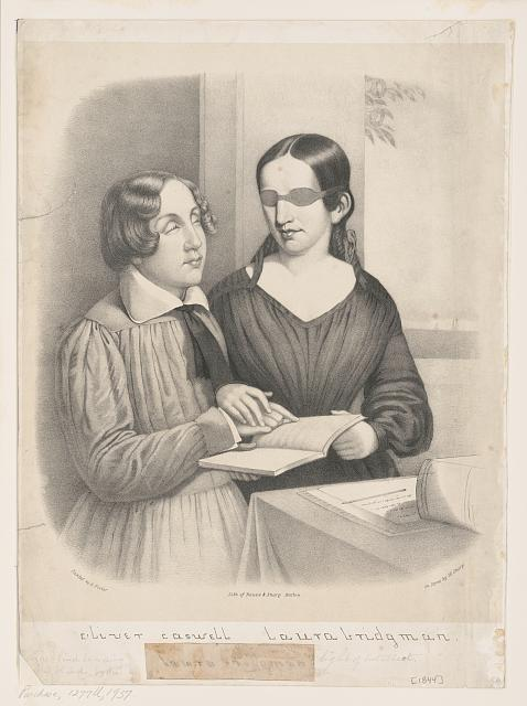 illustration with dark-haired young woman, eyes covered with eye-mask, guides the hand of a blind boy to a line on a page of a book