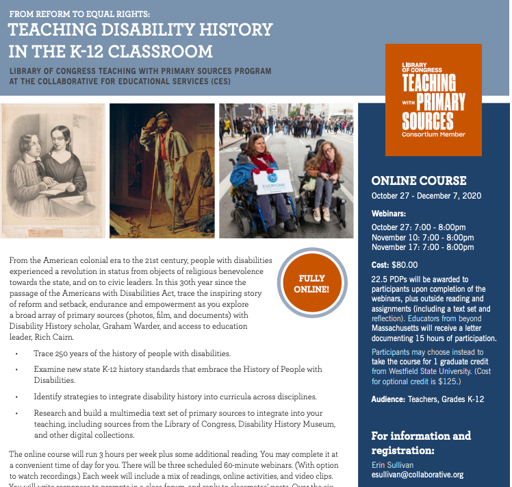 Detail from the Disability History course flyer showing three primary sources