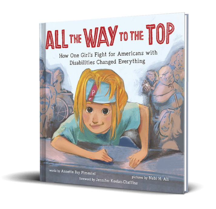 "Colorful book cover shows a drawing of a girl, blonde hair falling over a sky blue sweatband on her forehead, pulling herself forward with her arms on a grey stone step, only her head, shoulders and arms visible. Blurred crowds are visible on both sides of her. Above her are the words ""All the Way to the Top""."