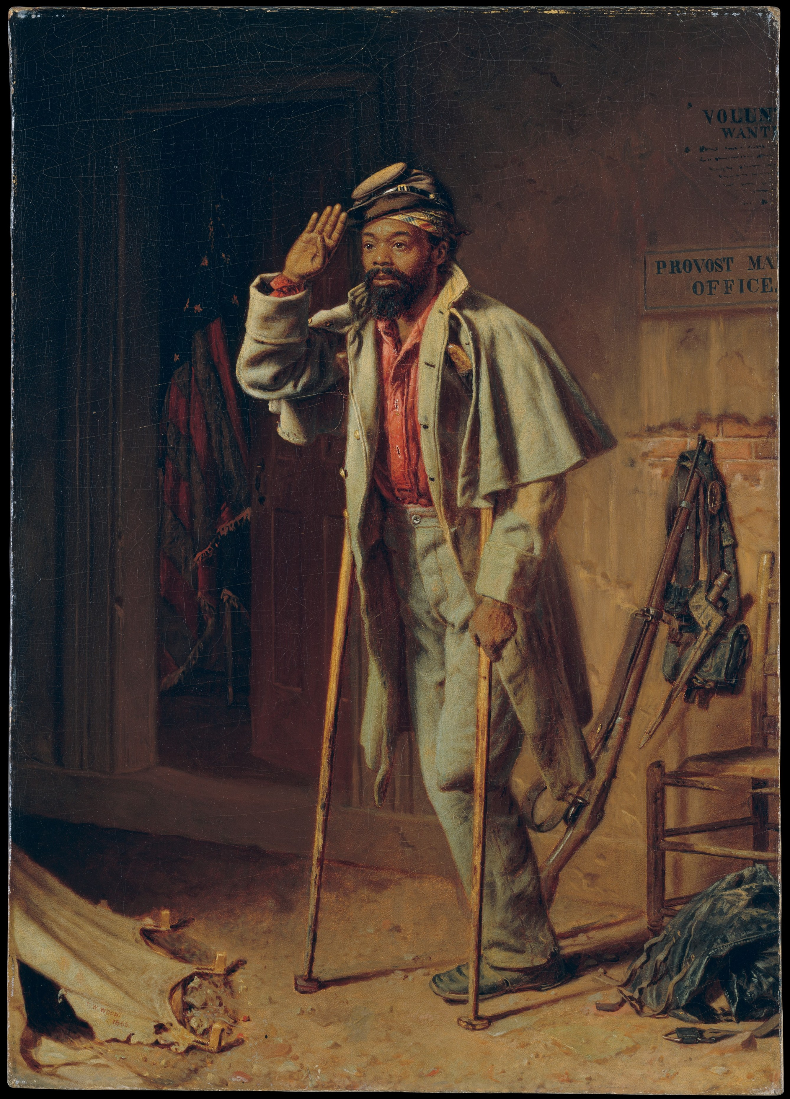 Painting of Black man standing with crutches, wearing faded Civil War uniform, hand raised in salute, with one leg amputated at the knee.
