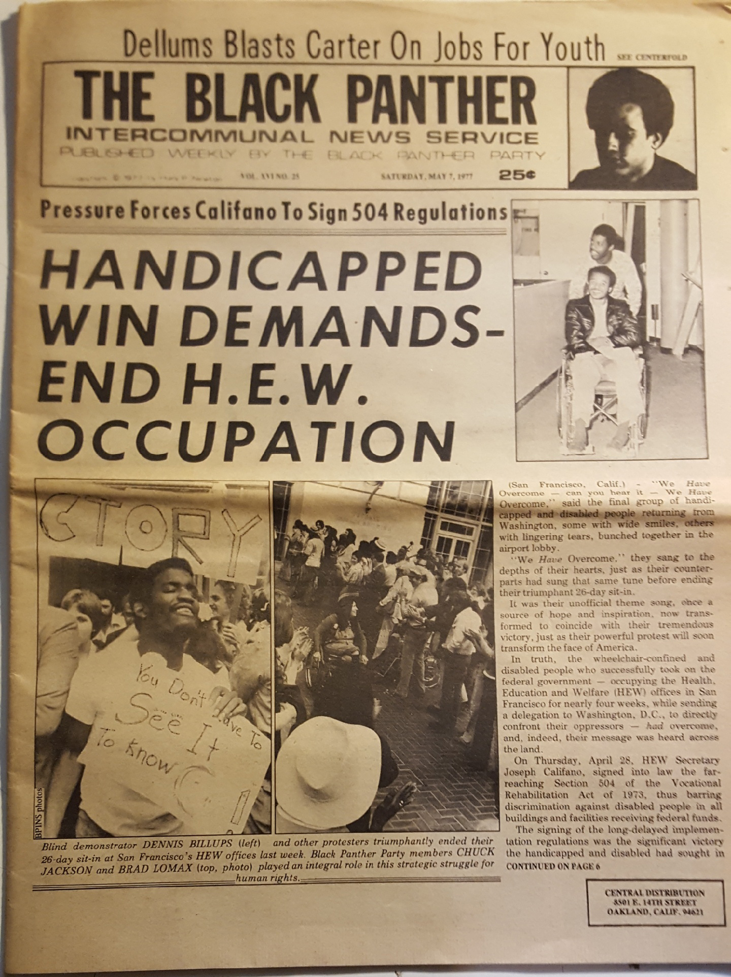 Front page of Black Panther Party newspaper with headlines about 504 protests