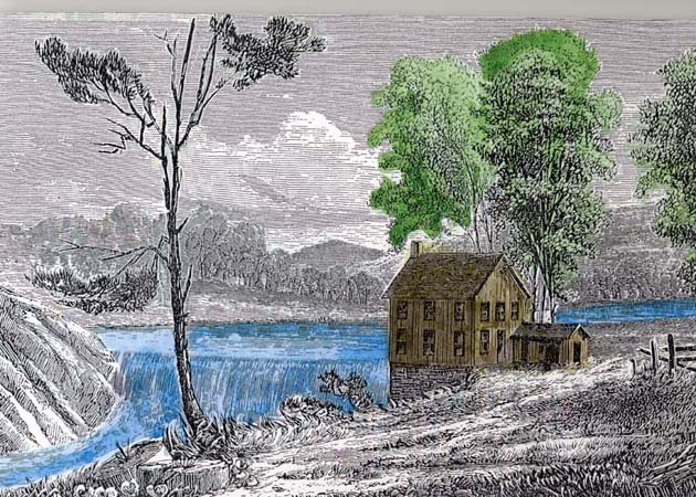 woodcut, mill site