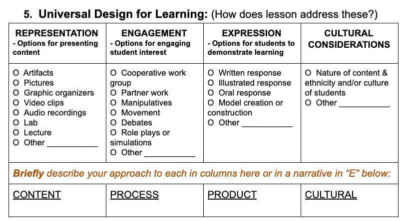 Grid with Represent, Engage, Express, and Cultural Considerations across top.