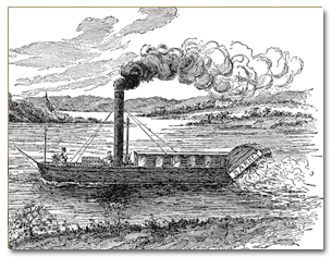 Black and white sketch of the steamboat Barnet