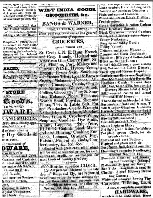 Ad: West India Goods: May 1827