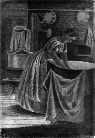 Sketch in charcoal or soft pencil. A dark room, with laundry pans, cloths etc. hanging from the brick wall. A dim light comes in from the upper right. A wood stove and a large pot for heating water stand behind the figure of Sojourner Truth, who wears an ankle length dress with the sleeves rolled up and her hair pinned back. Although her clothing is plain, she wears an earring. She leans over a large laundry tub and works on a washboard, wearing an expression of effort and concentration.