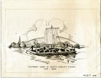 Drawing of a South Hadley Flatboat, 1795