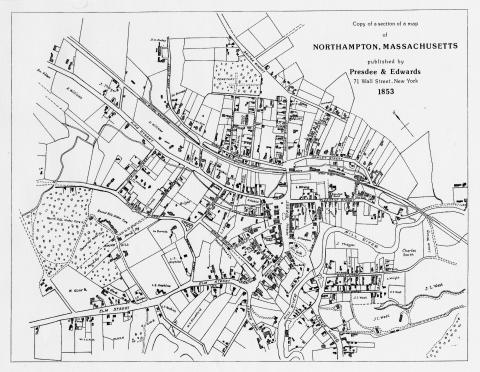 map of Northampton from 1853
