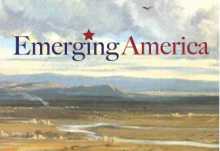 Emerging America logo against vista of sky, river, distant mountains.