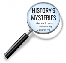 "Magnifying glass with black handle shows words ""History's Mysteries"" in the lens"