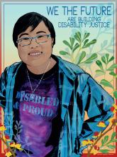 "Activist LydiaXZBrown, with short hair and glasses, smiles, hands to hips, words on purple t-shirt showing under her plaid shirt say ""Disabled and Proud"""