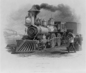 Black-and-white engraved image of a steam train locomotive, smoke billowing, with passengers waiting to board