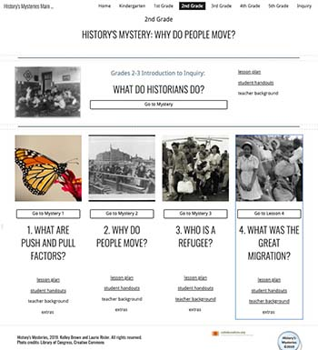 History's Mysteries unit illustration showing 5 lessons: What do Historians Do? What are Push and Pull Factors? Why Do People Move? What is a Refugee? and What was the Great Migration?