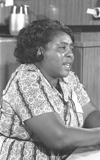 African-American woman seated at hearing table, speaking, microphone clipped to floral striped dress, her face and indistinct objects above counters behind her reflecting bright lights.