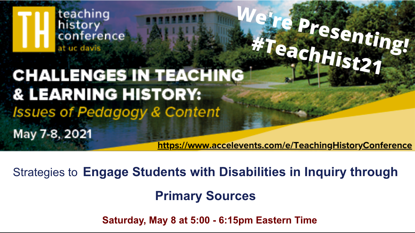 Virtual #TeachHist21 Conference flyer with U.C. Davis campus as backdrop
