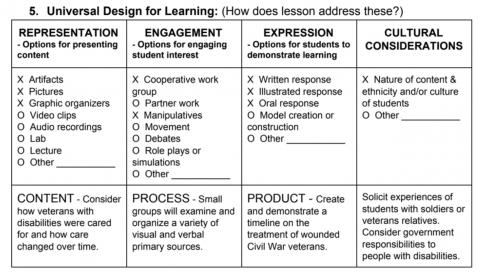 Completed grid identifies strategies and tools for access.